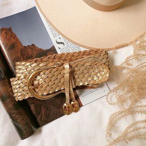 Michael Kors Accessories - Michael Kors Gold Braided Leather Belt + Charm